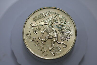 Indonesia 2000 Rupiah Tiger Scarce Wwf Lacquered For Preservation A72 #2317