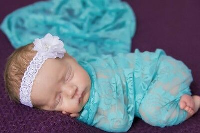 "Strech lace with rose seafoam pale newborn wrap photography 18""x60"""