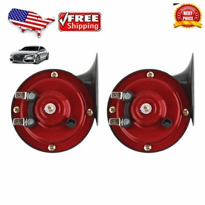 Universal 2pcs Red 12V Loud Car Truck 110DB 510hz Dual-tone Snail Air Horn D HK