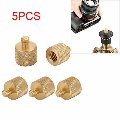 "Neewer 5PCS Gold 3/8"" Female to 1/4"" Male Screw Adapter for Tripod Shoulder Rig"
