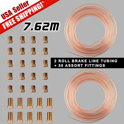 2XSteel Copper Steel 3/16 Brake Line Tubing Kit+30Pcs 15-21mm Rose Gold Fittings