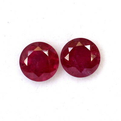 2.24 Cts Natural Ruby Round Cut Pair 6 mm Deep Red shade Loose Gemstones