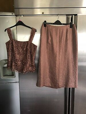 NEW Fabulous 3 piece skirt/top/jacket occasion outfit-Gina Bacconi sz 14
