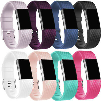 Replacement Soft Silicone Bracelet Strap Clasp Watch Band for Fitbit Charge 2