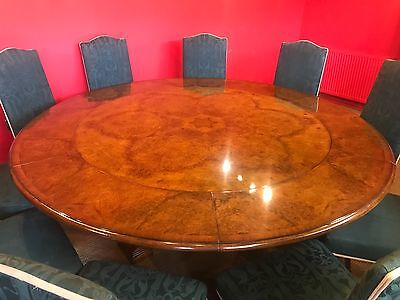 Magnificent 5Ft To 7Ft Jupe Style Grand Burr Walnut Circular Dining Table