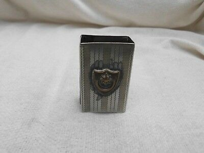 National Silver Co. Engine Turned Plated Vesta Matchbox Slip Cover Shield Crest