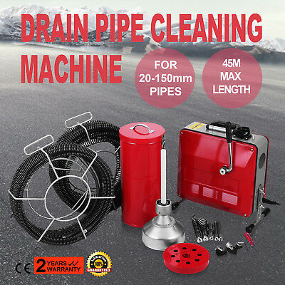 20-150mm Ø Pipe Drain Cleaner Machine Cleaning 8/16/22mm Ø Spirals Electric