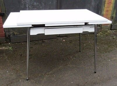 French Vintage Mid Century 50s 60s White Formica Extending Kitchen Dining Table
