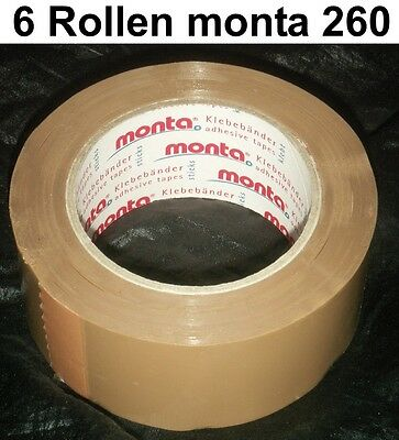 6 x Tape Packing Monta 260 Extra Strong Tear-Resistant Quietly Rolling Out