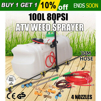 100L Atv Weed Sprayer Sport Boom Tanks Unit Chemical Garden Farm Water Pump New