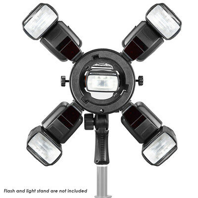 Neewer Black Bowen Mount Outdoor Flash Bracket with 4 Cold Shoe Mount Adapter