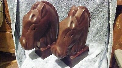 Hand made solid mahogany wood horse head statues / busts