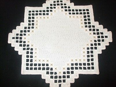 Vintage German Hand Embroidered HARDANGER NEW with metallic gold thread