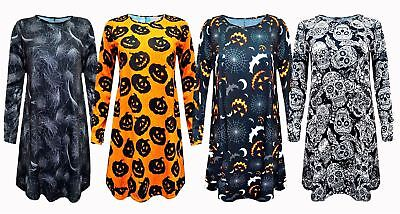 Womens Ladies Halloween Skull Bat Pumpkin Spider Web Print Flared Swing Dress