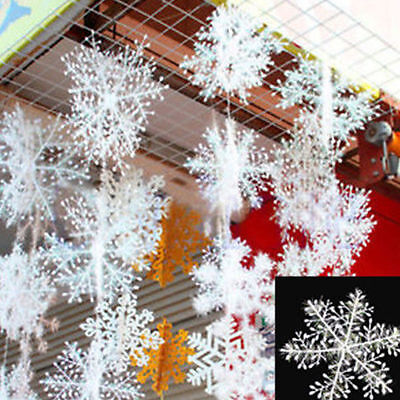 30Pcs Christmas White Snowflakes Xmas Tree Decorations Ornaments