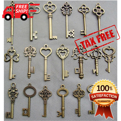 HOT! Skeleton Keys Antique Vintage Old Bulk Large Lock Key Brass Bronze 20 Set
