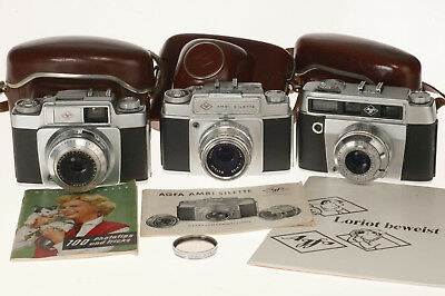 3 x AGFA SILETTE + 3 x SOLINAR 2,8 / 50 mm, working !, + 3 x Cases , VERY NICE !