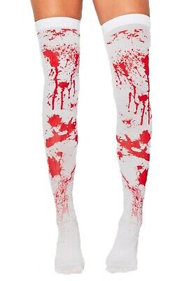 Ladies Blood Stockings Hold Up Halloween Fancy Dress Costume Party Zombie Nurse