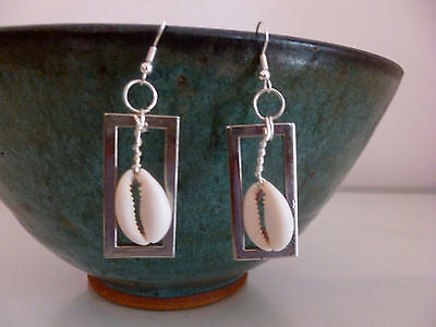 African Earrings-Cowrie Shell Jewelry- Cowry Earrings Afrocentric