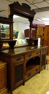 very large Edwardian mirrored sideboard dark wood antique vintage