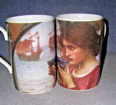 "Pair Dunoon Pre-Raphaelite Lady Mugs, ""Destiny, 1902"" by John William Waterhouse"