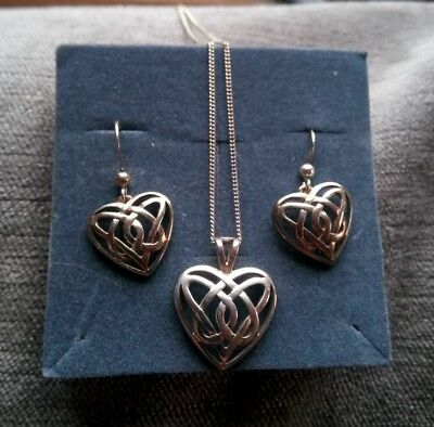 sterling silver Macintosh earrings and pendant on chain set.