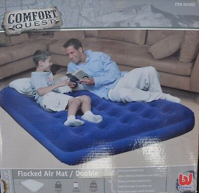 Double Air Bed Bestway Comfort Quest Flocked  - Blue, 75 x 54 x 8.5 Inch