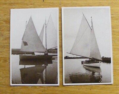 2 Norfolk Broads postcards with sailing boats
