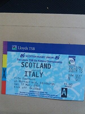 Scotland v Italy Six Nations Rugby Union Ticket Mar 2001