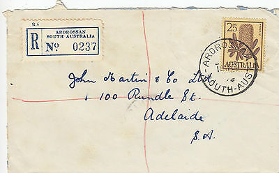 J 274 Oz 2/5d solo  banksia stamp on  1961 registered Adrossan SA cover