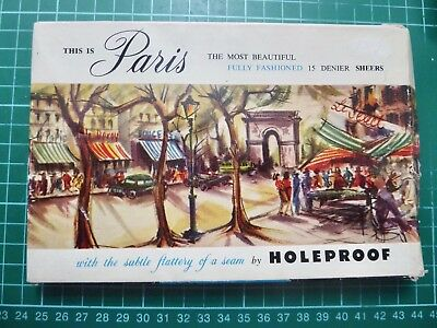 Vintage Pair Of Holeproof Stockings Sheer Nothings Seamless Nylons In Paris Box