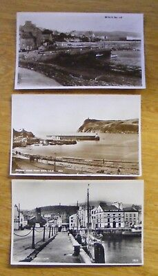 3 x Isle of Man postcards of Old Port St Mary RAMSEY quay & Port Erin 1958