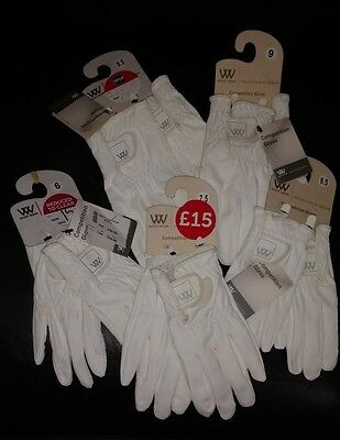 Woof Wear Leather Competition Gloves - White, various sizes. Seconds/Marked