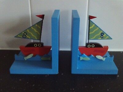 Pair of ' Sailing Boat ' Book Ends, Children's Bedroom, Nursery.