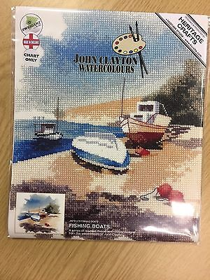 FISHING BOATS cross stitch chart JOHN CLAYTON WATERCOLOUR COLLECTION HERITAGE