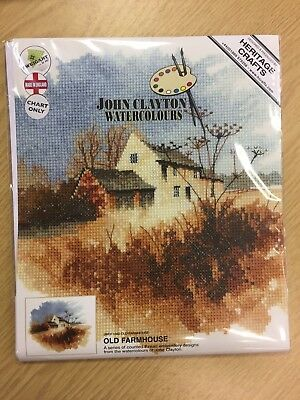OLD FARMHOUSE cross stitch chart JOHN CLAYTON WATERCOLOUR COLLECTION HERITAGE