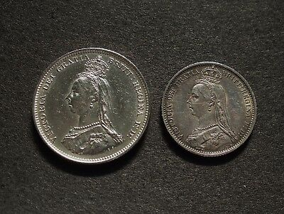 G. B. Victoria Shilling Coin  &  Sixpence Coin  Both 1887