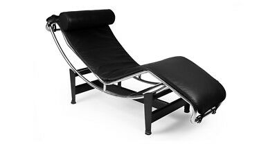 Modernist Le Corbusier LC4 Chaise Lounge Tubular Steel Chrome Black Leather