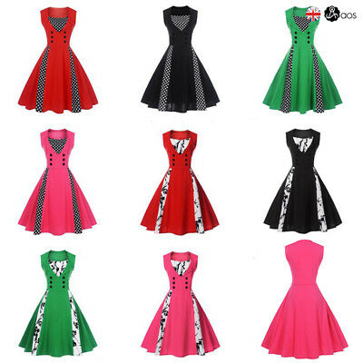 Vintage Polka Dot 50s ROCKABILLY Swing PinUp Housewife Evening Party Retro Dress