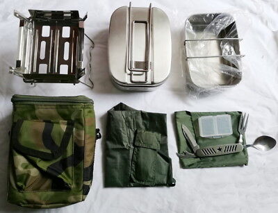 Chinese ARMY PLA Military Issue Type 05 Stainless Steel Mess Kit Camping Hiking