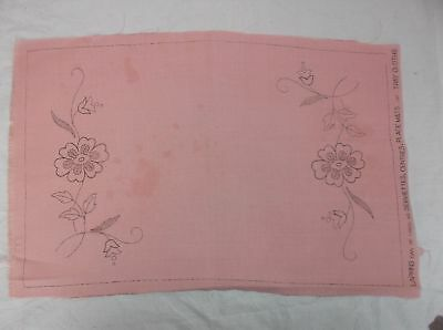 4 Vintage Semco Pink Placemats To Embroider. 1 Unfinished. 3 Unworked