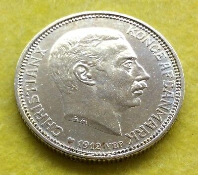 DENMARK 2 KRONER 1912 SILVER, Death of Frederik VIII and Accession of Christian