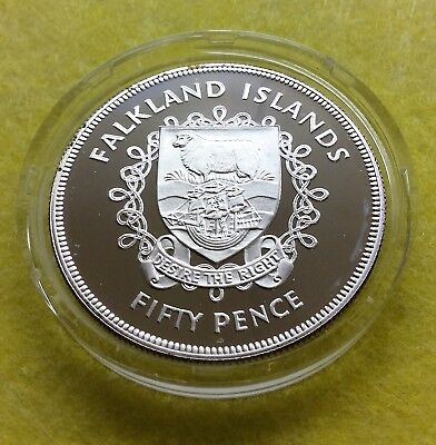 FALKLAND ISLANDS, BRITISH, 50 PENCE 1977 SILVER PROOF, Queen's Silver Jubilee