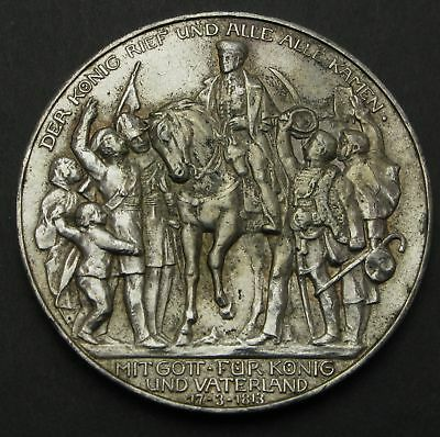 PRUSSIA (German State) 3 Mark 1913A - Silver - Defeat of Napoleon - VF - 190