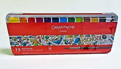 Caran D' Ache Gouache Set Of 13 Cakes Tempera Colors High Pigment Swiss Made