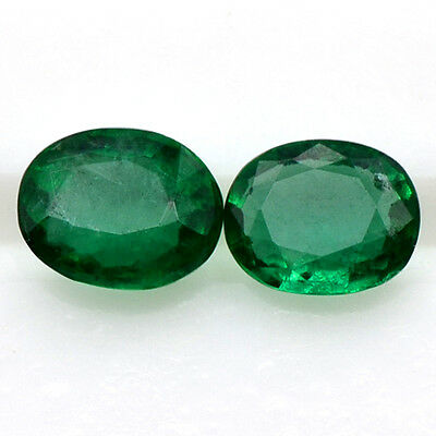 0.72 Cts Natural Fine 5x4 mm Rich Green Emerald Oval Cut Pair Untreated Zambia