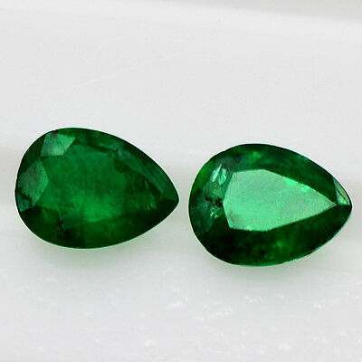 1.30 Cts Natural Super Gemstone Green Emerald Pear Cut Pair Untreated Zambia