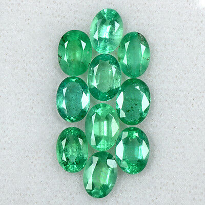 7.45 Cts Natural Amazing Rich Green Emerald Oval Cut 7x5 mm 10 Pcs Lot Zambia $