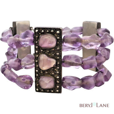 Vintage CHINESE EXPORT AMETHYST Beaded CHUNKY 3 Strand Silver BRACELET