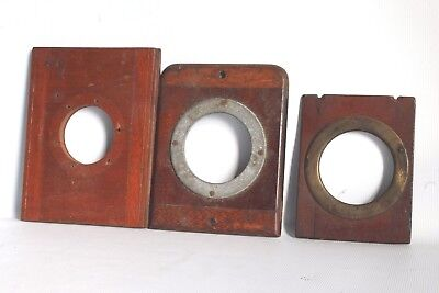 3 Mahogany Lens Holder Fronts For Vintage Plate Cameras Good Condition (Used)